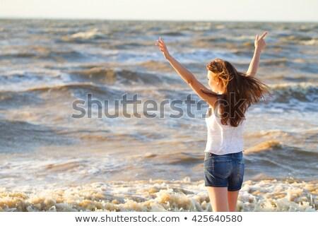 Genç güzel kadın yaz gün mutlu Stok fotoğraf © Yatsenko