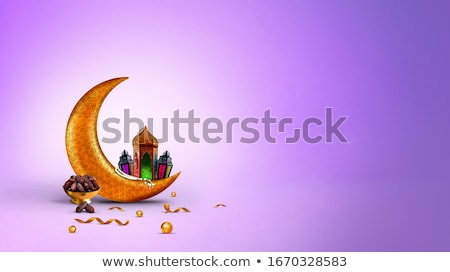 eid mubarak festival greeting in purple theme stock photo © sarts