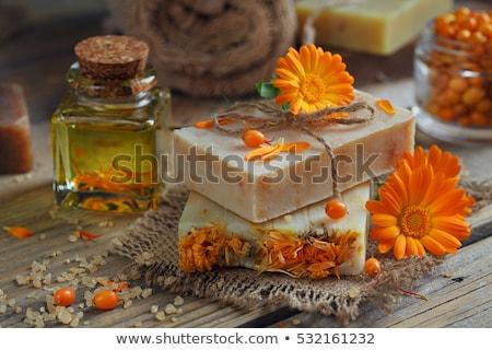 Citromsárga virágmintás kézzel készített szappan fából készült otthon Stock fotó © OleksandrO
