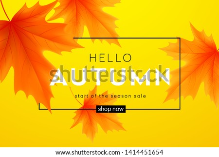 Autumn Sale Poster With Leaves Stock photo © cammep
