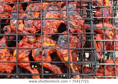 Frango grelhado vermelho molho México receita comida Foto stock © lunamarina