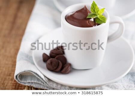 házi · készítésű · csokoládé · hab · étel · kávé · csokoládé · háttér - stock fotó © mpessaris