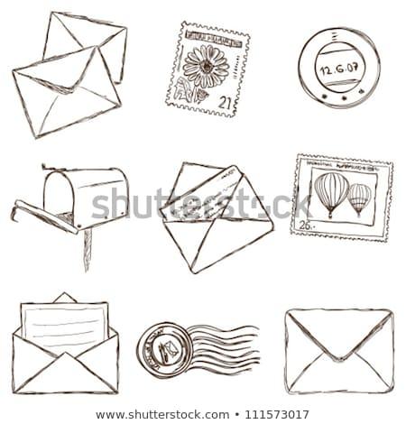 虫眼鏡 · 鉛筆 · 封筒 · ビジネス · 紙 - ストックフォト © robuart