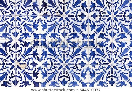 Typisch Blauw meetkundig tegels muur gebouw Stockfoto © matimix