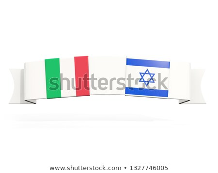 Banner with two square flags of Italy and israel Stock photo © MikhailMishchenko