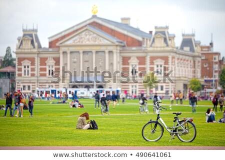 Praça Amsterdam tulipas Holanda edifício paisagem Foto stock © neirfy