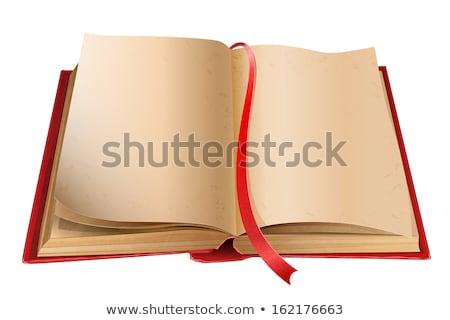 開いた本 赤 ブックマーク 古い テンプレート ストックフォト © orensila