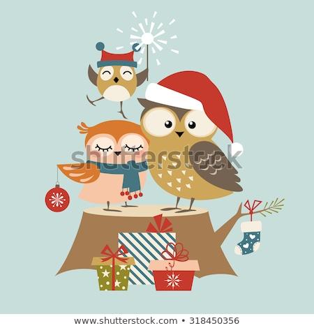 ストックフォト: フクロウ · 家族 · クリスマス · 靴下 · 実例 · 雪