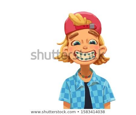Grappig zwarte jongen tandheelkundige bretels cartoon Stockfoto © zkruger