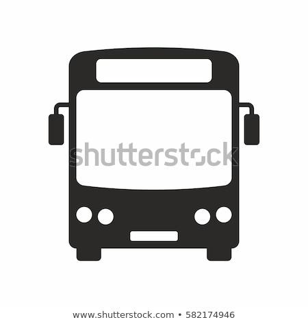 Foto d'archivio: Bus · icona · bianco · business · strada · scuola