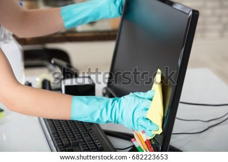 hizmetçi · temizlik · klavye · büro · portre · genç - stok fotoğraf © andreypopov