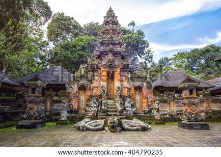 Ubud Monkey Forest sanctuary at Bali, Indonesia Stock photo © boggy