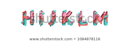 Colorful paper cut out font Letter J 3D Stock photo © djmilic