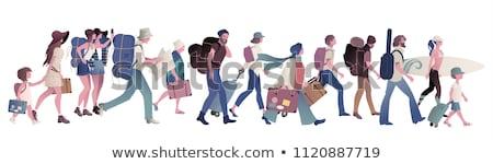 группа ходьбе карта туристов вектора люди Сток-фото © robuart