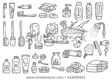 Cartoon cute doodles hand drawn Bathroom illustration. Stock photo © balabolka