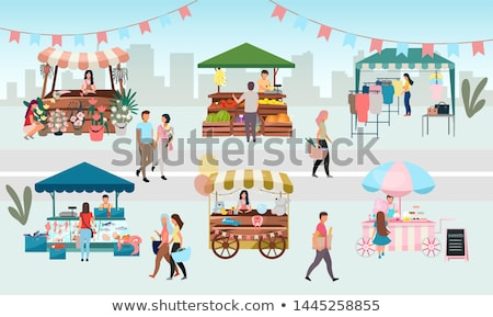 Tent with Products and Clothes, Marketplace Vector Stock photo © robuart