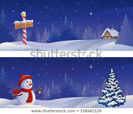 Snowman in Winter Snowy Forest, Christmas Eve Stock photo © robuart