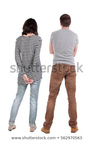 Hátsó nézet fiatal kaukázusi pár áll kéz Stock fotó © wavebreak_media