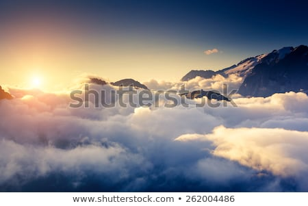 Belo pôr do sol montanha sibéria Rússia Foto stock © olira