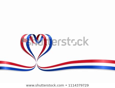 National flag of the Croatia in the shape of a heart and the inscription I love Croatia. Vector illu Stock photo © butenkow