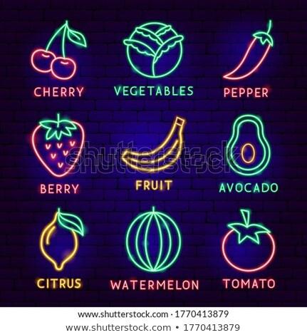 Avokádó neon címke egészséges étel promóció étel Stock fotó © Anna_leni