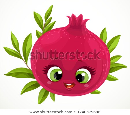 Happy pomegranate cartoon vector illustration Stock photo © barsrsind