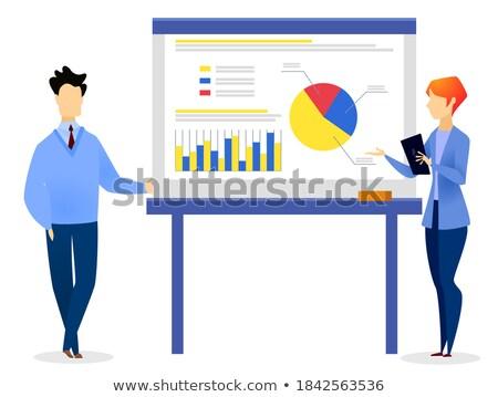Mulher suporte conselho diagramas nomeação companhia Foto stock © robuart