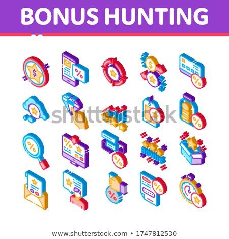 Bonus Hunting Isometric Elements Icons Set Vector Stock photo © pikepicture