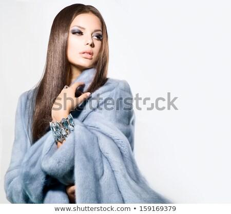 Moda kadın kürk makyaj lüks stil Stok fotoğraf © Victoria_Andreas