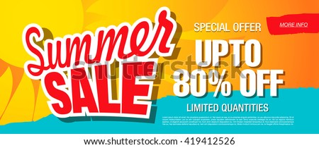 summer sale and summer offer in sun labels stock photo © marinini