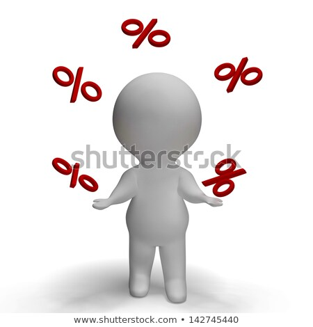 Stock photo: Percent Sign With 3d Man Climbing Shows Percentage