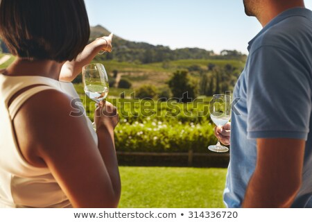 rear view of man holding wineglass stock photo © zzve