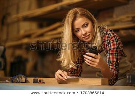 Retrato mulher telefone móvel mulher bonita trabalhando Foto stock © marcelozippo
