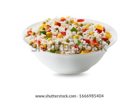 Stok fotoğraf: Pirinç · salata · akşam · yemeği · mısır · domates · taze