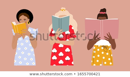 Kız kitap çekici kız beyaz yüz kitaplar Stok fotoğraf © evgenyatamanenko