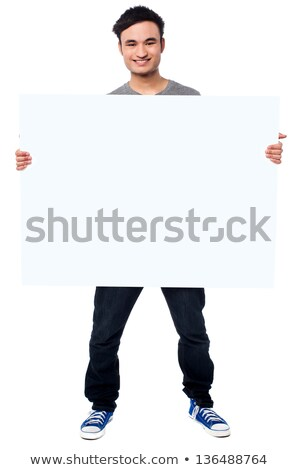 Fashion Man holding Board with White Blank Space for Text Stock photo © gromovataya