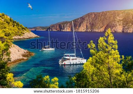 白 · ローイング · ボート · ギリシャ · 水 · 太陽 - ストックフォト © imaster