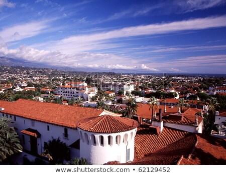 Mission Santa Barbara Mountains Palm Trees California  Stock photo © billperry