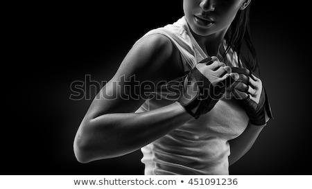 yakın · portre · spor · kız · spor · salonu · seksi - stok fotoğraf © pmphoto