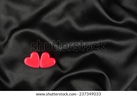 Iki aşıklar kalpler siyah saten can Stok fotoğraf © alekleks