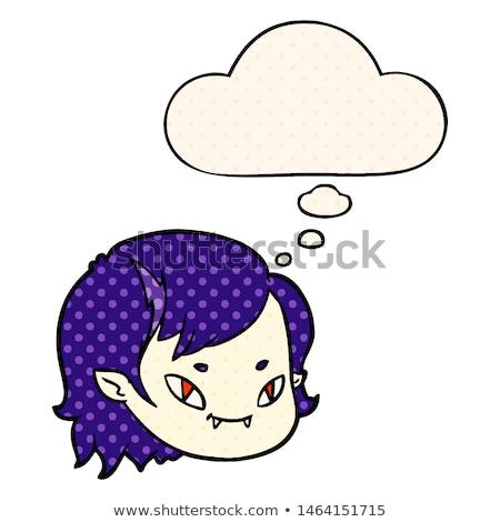 Desenho animado vampiro cara balão de pensamento mulher mão Foto stock © lineartestpilot