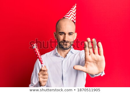Businessman expressing refusal with open hand Stock photo © deandrobot