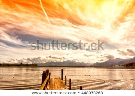 jetty on lake chiemsee germany stock photo © haraldmuc