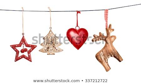 Noël · décoration · bois · étoiles · sombre · arbre - photo stock © -baks-