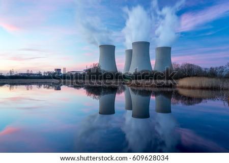 Atomi elektromos erőmű kék ég füst épület építkezés Stock fotó © cherezoff