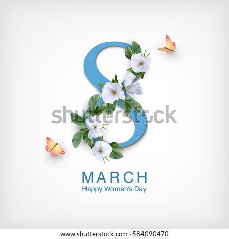 Nőnap illusztráció virágok nők torta sziluett Stock fotó © adrenalina