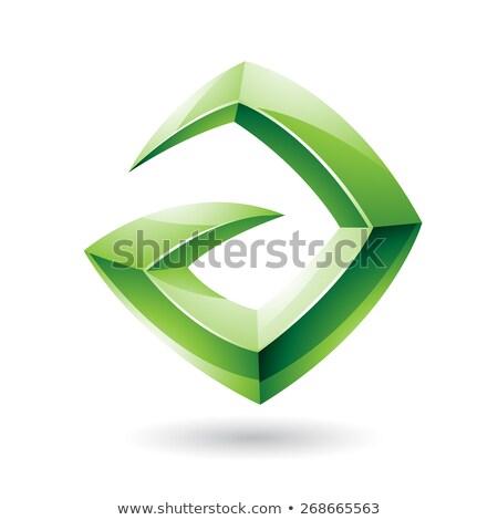 3D éles fényes zöld logo ikon Stock fotó © cidepix