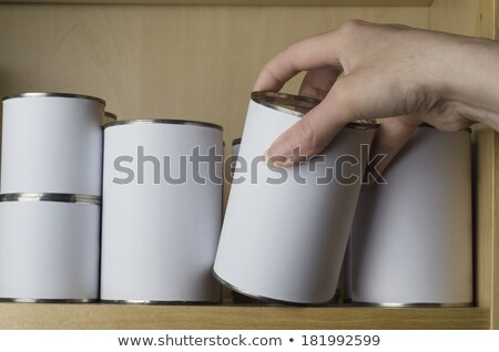 Shelves of Unbranded Tin Cans with Blank White Labels Stock photo © frannyanne