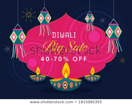 diwali sale offer with hanging lamps, diya and fireworks Stock photo © SArts