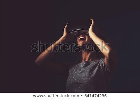Wesoły młodych pani faktyczny rzeczywistość okulary Zdjęcia stock © deandrobot